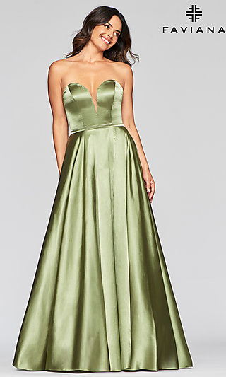 Long Simple A-Line Strapless Prom Dress