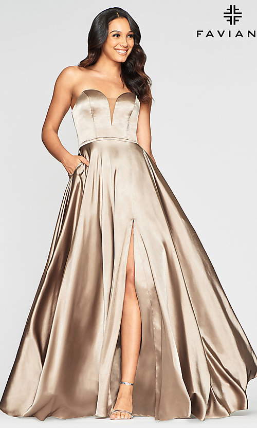 Image of simple Faviana strapless long formal prom dress. Style: FA-S10428 Detail Image 7