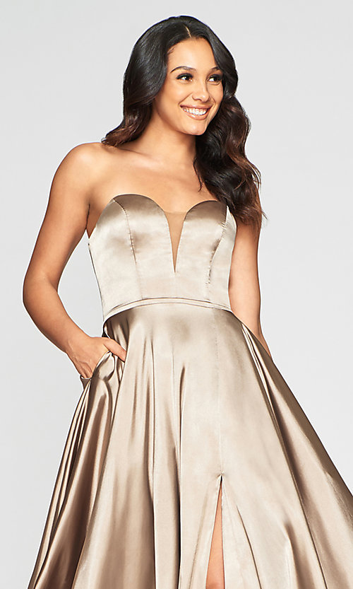 Image of simple Faviana strapless long formal prom dress. Style: FA-S10428 Detail Image 8