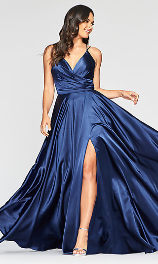 Long Open-Back Prom Dress with an A-Line Skirt