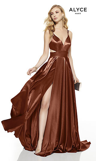 Long Alyce Open-Back Formal Dress with Cut-Outs