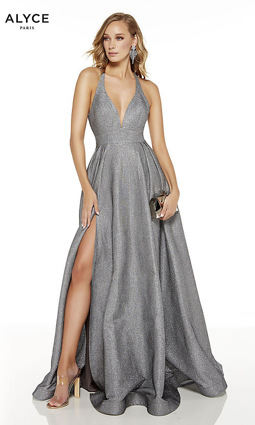 Image of long glitter formal prom dress with statement back. Style: AL-60722 Detail Image 1