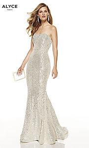Image of strapless sequin long formal prom dress by Alyce. Style: AL-60809 Detail Image 2