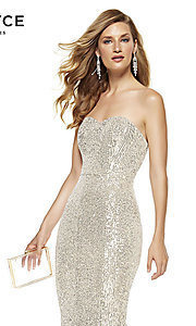 Image of strapless sequin long formal prom dress by Alyce. Style: AL-60809 Detail Image 3