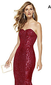 Image of strapless sequin long formal prom dress by Alyce. Style: AL-60809 Detail Image 1