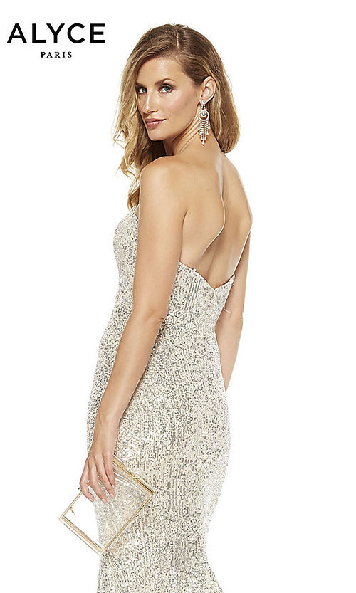 Image of strapless sequin long formal prom dress by Alyce. Style: AL-60809 Detail Image 4