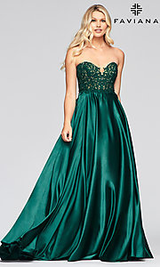 Image of strapless Faviana green formal long prom dress Style: FA-S10430 Front Image