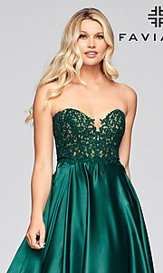 Image of strapless Faviana green formal long prom dress Style: FA-S10430 Detail Image 1