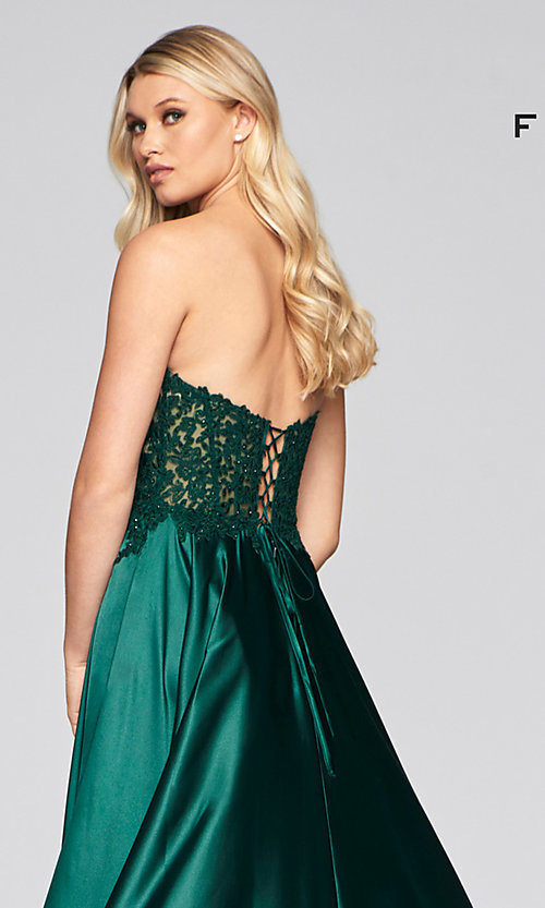 Image of strapless Faviana green formal long prom dress Style: FA-S10430 Detail Image 2