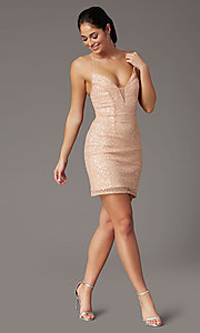 Image of corset-back sequin short sparkly prom dress. Style: PV-PL-154 Front Image
