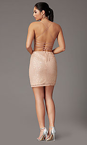 Image of corset-back sequin short sparkly prom dress. Style: PV-PL-154 Back Image