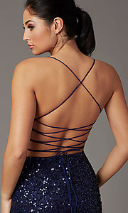 Image of corset-back sequin short sparkly prom dress. Style: PV-PL-154 Detail Image 5