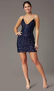 Image of corset-back sequin short sparkly prom dress. Style: PV-PL-154 Detail Image 6