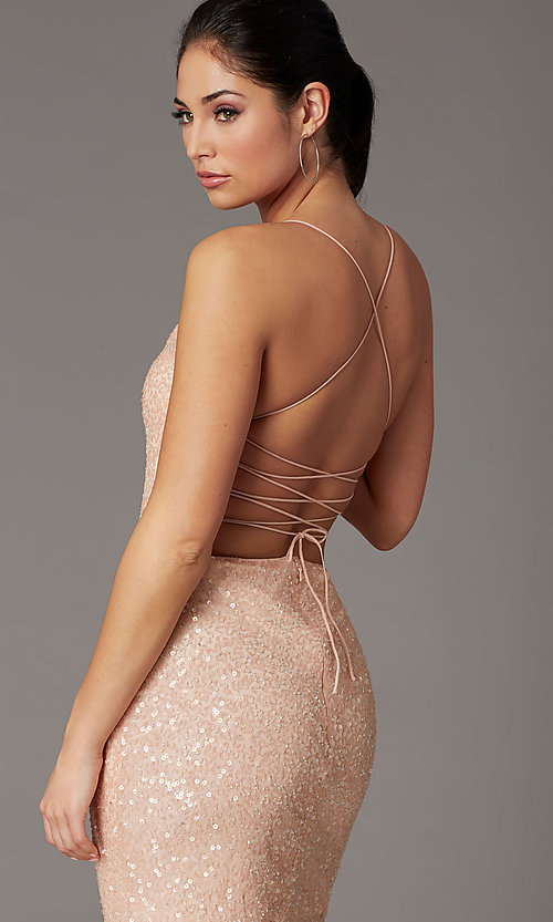 Image of corset-back sequin short sparkly prom dress. Style: PV-PL-154 Detail Image 1