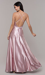 Image of long a-line v-neck formal dress by Simply. Style: LP-SD-27924-v Back Image