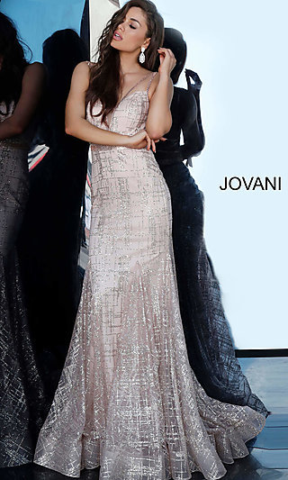 Jovani Deep V-Neck Glitter Designer Formal Dress
