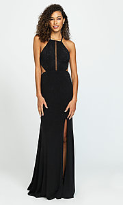 Image of open-back long cut-out beaded formal prom dress. Style: NM-19-110 Front Image