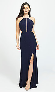 Image of open-back long cut-out beaded formal prom dress. Style: NM-19-110 Detail Image 2