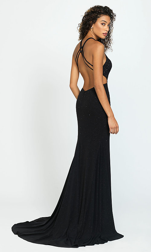 Image of open-back long cut-out beaded formal prom dress. Style: NM-19-110 Back Image