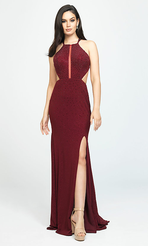 Image of open-back long cut-out beaded formal prom dress. Style: NM-19-110 Detail Image 3