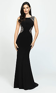 Image of high-neck long open-back prom dress. Style: NM-19-116 Detail Image 1