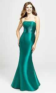Image of long strapless prom dress with beaded bodice. Style: NM-19-130 Front Image