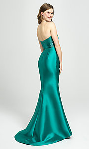 Image of long strapless prom dress with beaded bodice. Style: NM-19-130 Back Image