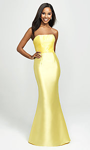 Image of long strapless prom dress with beaded bodice. Style: NM-19-130 Detail Image 1