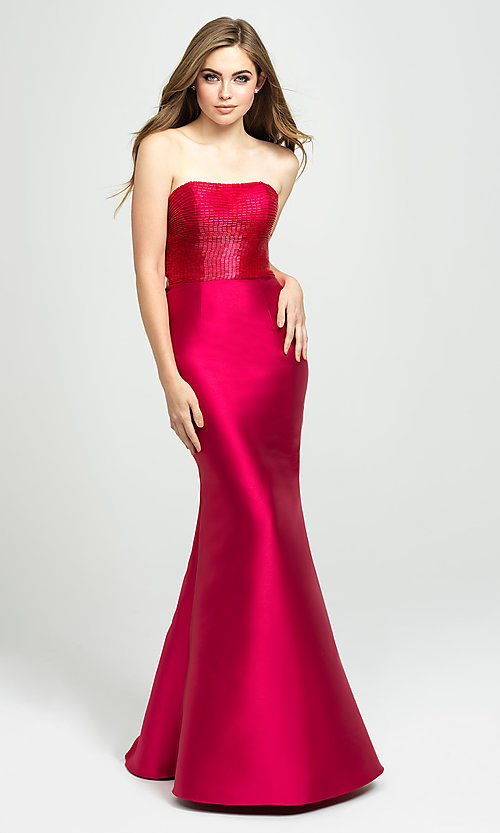 Image of long strapless prom dress with beaded bodice. Style: NM-19-130 Detail Image 3