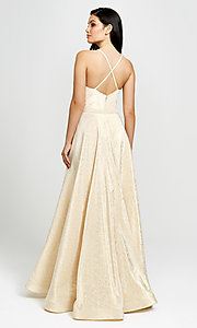 Image of metallic light gold long prom dress. Style: NM-19-134 Back Image