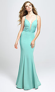 Image of v-neck long prom dress with beaded bodice. Style: NM-19-135 Front Image