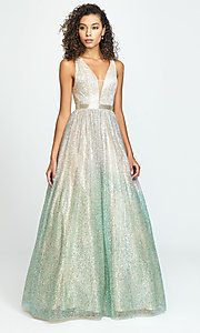 Image of glitter metallic long v-neck prom dress. Style: NM-19-136 Front Image