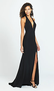 Image of halter long open-back simple prom dress. Style: NM-19-140 Front Image