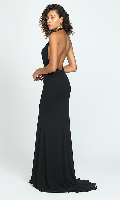 Image of halter long open-back simple prom dress. Style: NM-19-140 Back Image