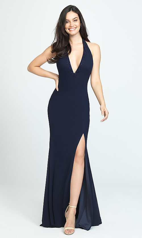 Image of halter long open-back simple prom dress. Style: NM-19-140 Detail Image 1