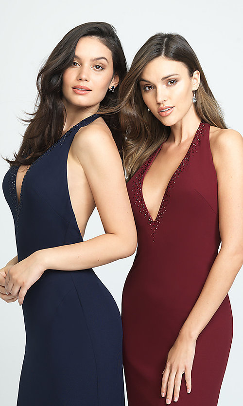 Image of halter long open-back simple prom dress. Style: NM-19-140 Detail Image 3
