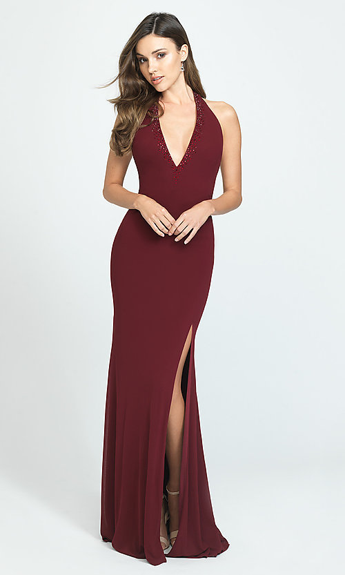 Image of halter long open-back simple prom dress. Style: NM-19-140 Detail Image 2
