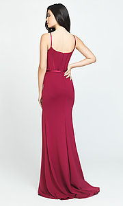 Image of long formal Madison James prom dress. Style: NM-19-147 Back Image