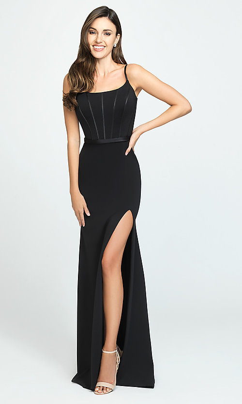 Image of long formal Madison James prom dress. Style: NM-19-147 Detail Image 1