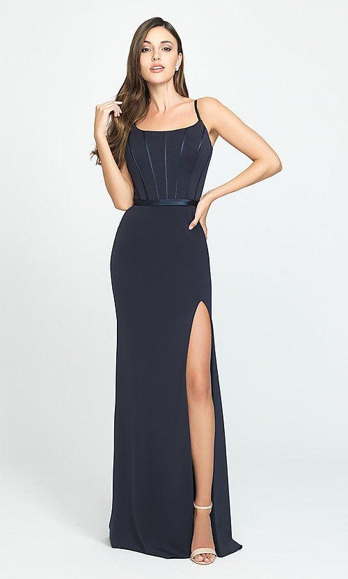 Image of long formal Madison James prom dress. Style: NM-19-147 Detail Image 2