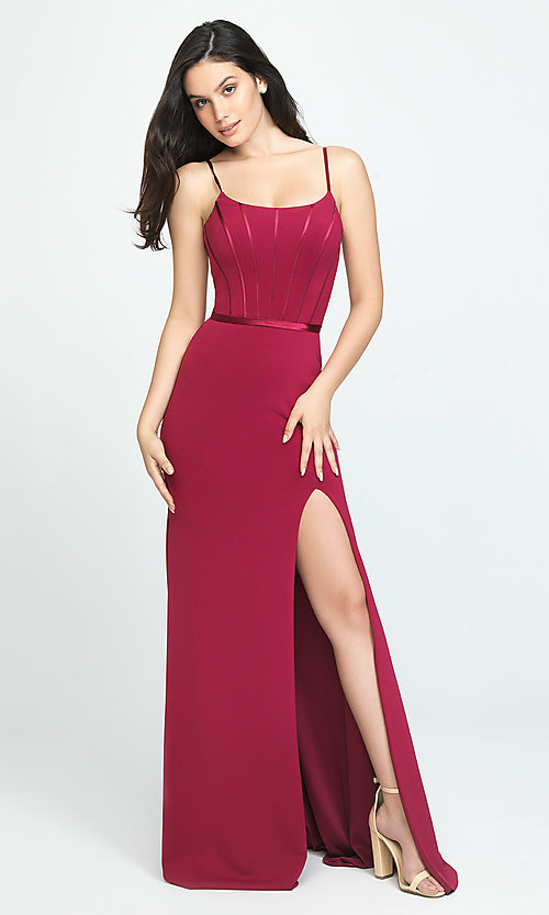 Image of long formal Madison James prom dress. Style: NM-19-147 Front Image