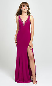 Image of long formal prom dress with beaded v-neckline. Style: NM-19-150 Front Image