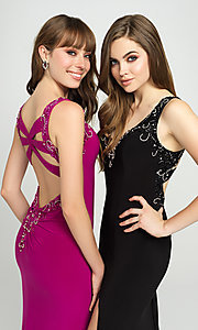 Image of long formal prom dress with beaded v-neckline. Style: NM-19-150 Detail Image 1