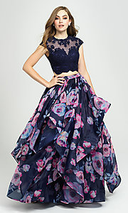 Image of navy floral-print long two-piece formal prom dress. Style: NM-19-160 Front Image