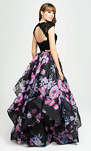 Image of navy floral-print long two-piece formal prom dress. Style: NM-19-160 Back Image