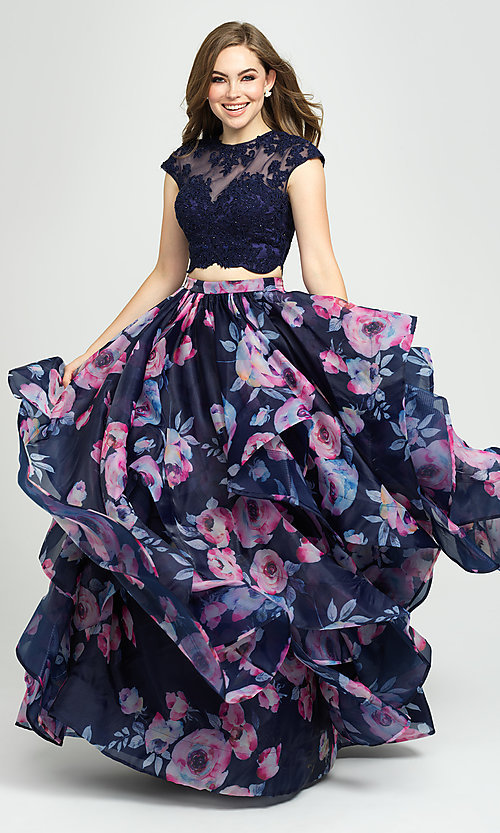 Image of navy floral-print long two-piece formal prom dress. Style: NM-19-160 Detail Image 1