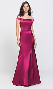 Image of long formal prom dress with removable overskirt. Style: NM-19-161 Detail Image 5