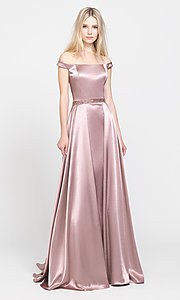 Image of long formal prom dress with removable overskirt. Style: NM-19-161 Front Image