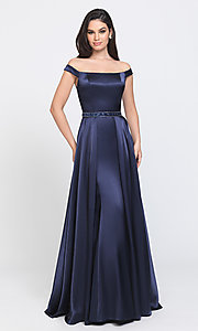 Image of long formal prom dress with removable overskirt. Style: NM-19-161 Detail Image 1