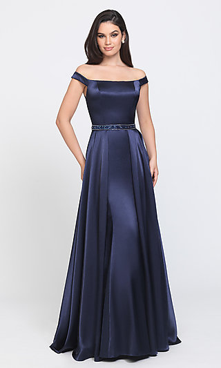 Long Formal Prom Dress with Removable Overskirt